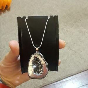 ☆NEW☆ silver druzy stone necklace